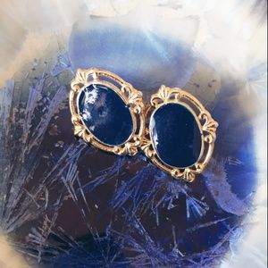 Jewelry - Women's Gold Costume Navy Post Earrings
